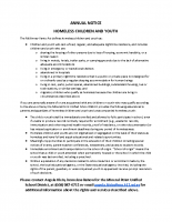 Annual Notice – Homeless Children and Youth