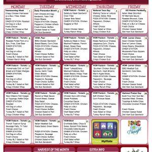 MS HS October menu
