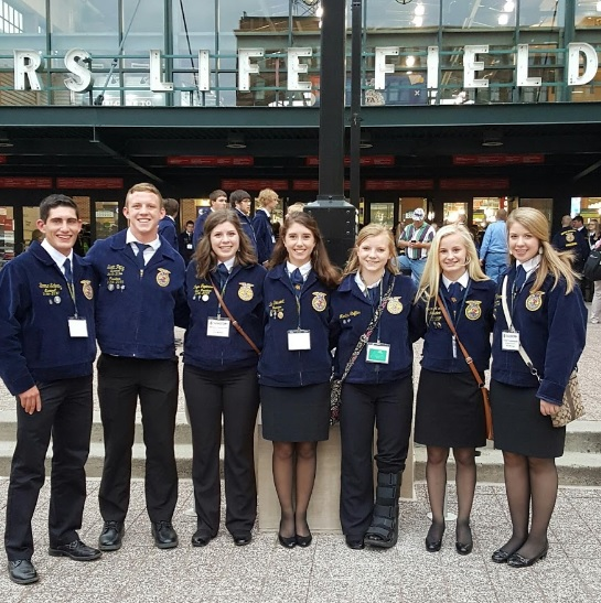 National FFA Convention attendees: Boone Schmitz, Scott Pittz, Morgan Fitzsimmons, Tea Bossert, Martina Steffes, Tommie Loken, Katie Fitzsimmons.