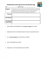 Professional Learning Community Activity Log